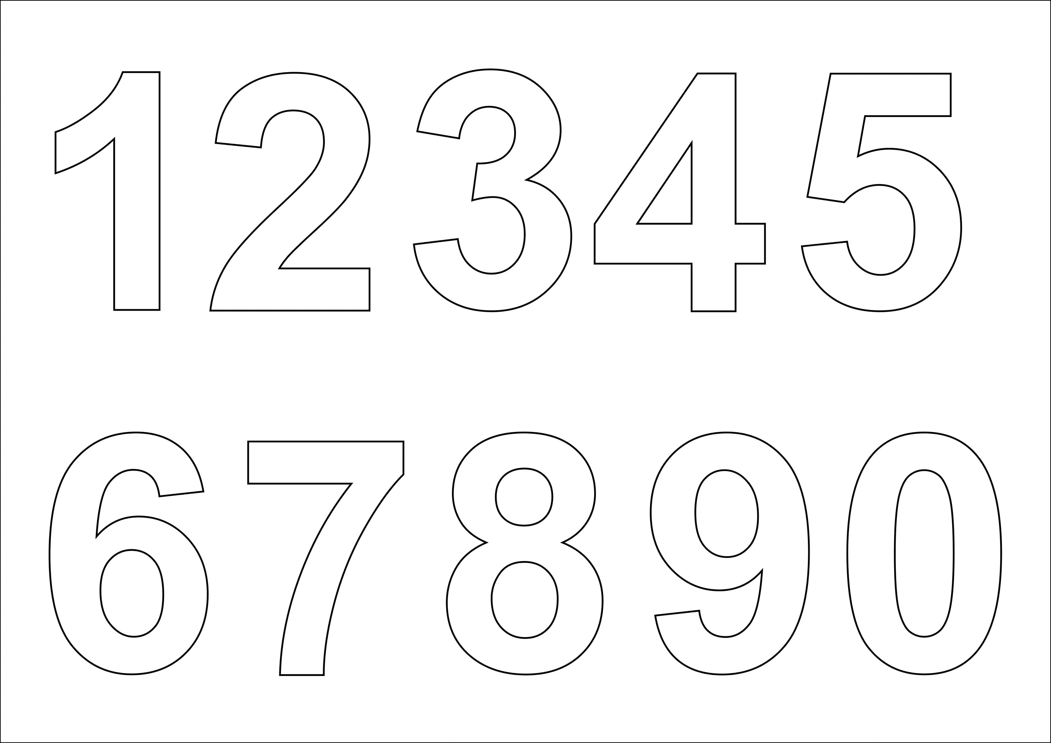 образец трафарета цифр