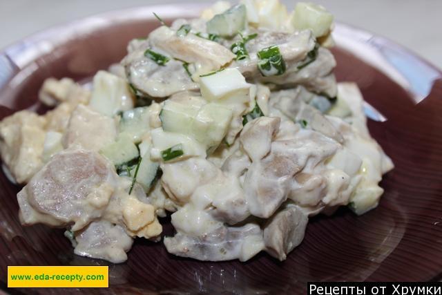 Салат из шампиньонов и куриной грудки рецепт пошагово с в