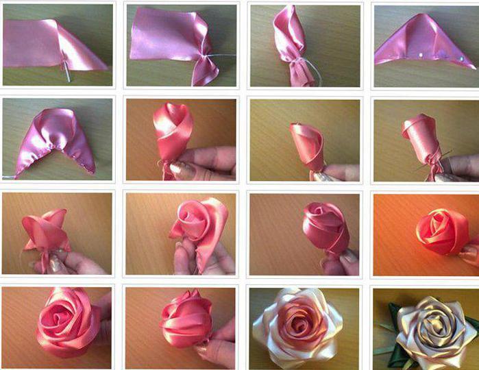 Цветы из атласных лент сделать своими руками