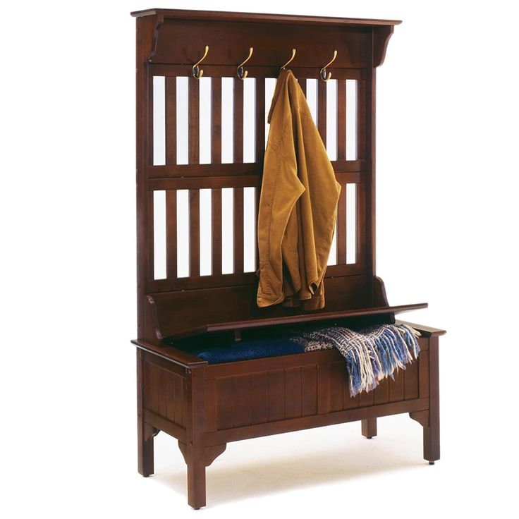Single hall tree storage bench