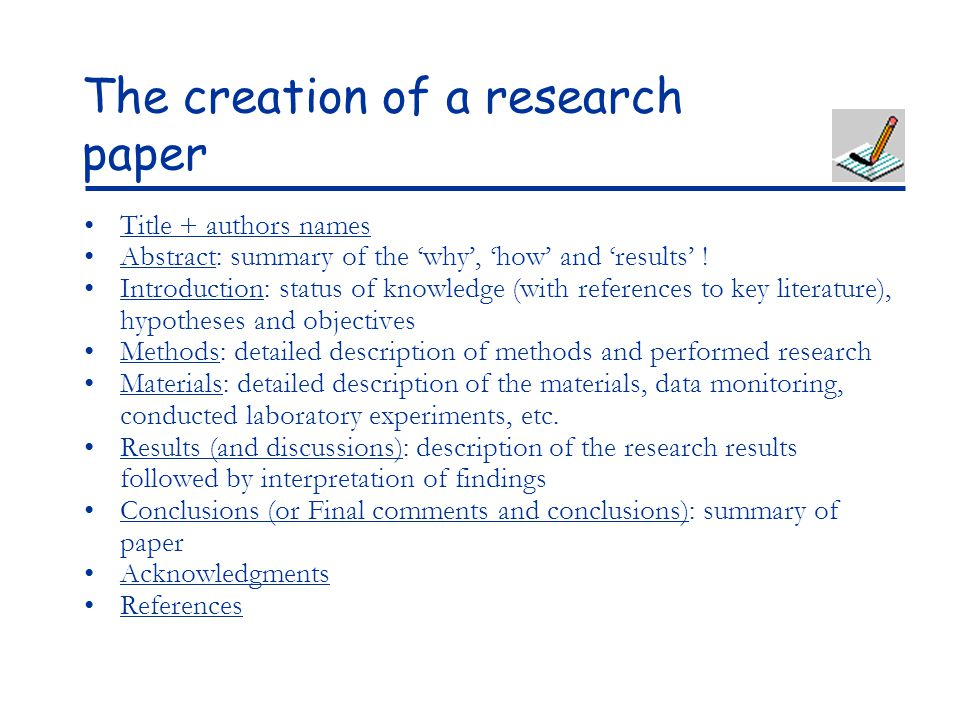 Writing a good conclusion to a research paper