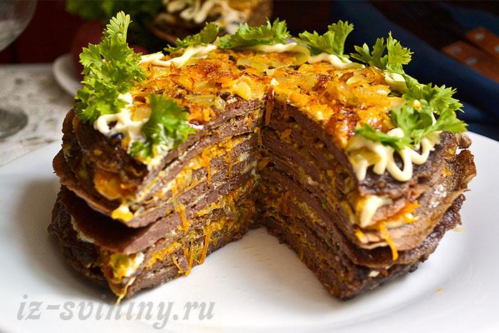 печен торт из свиной печени - рецепты с фото