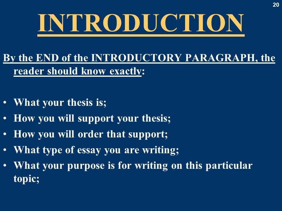 Writing essays introduction