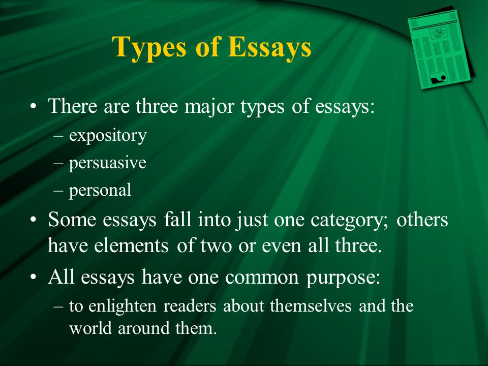 Three types of essays