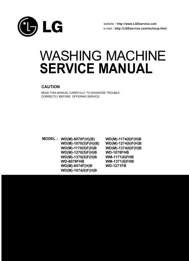 LG Washing Machine Manuals, Care Guides Literature Parts