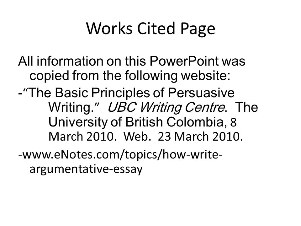 Write my work cited essay