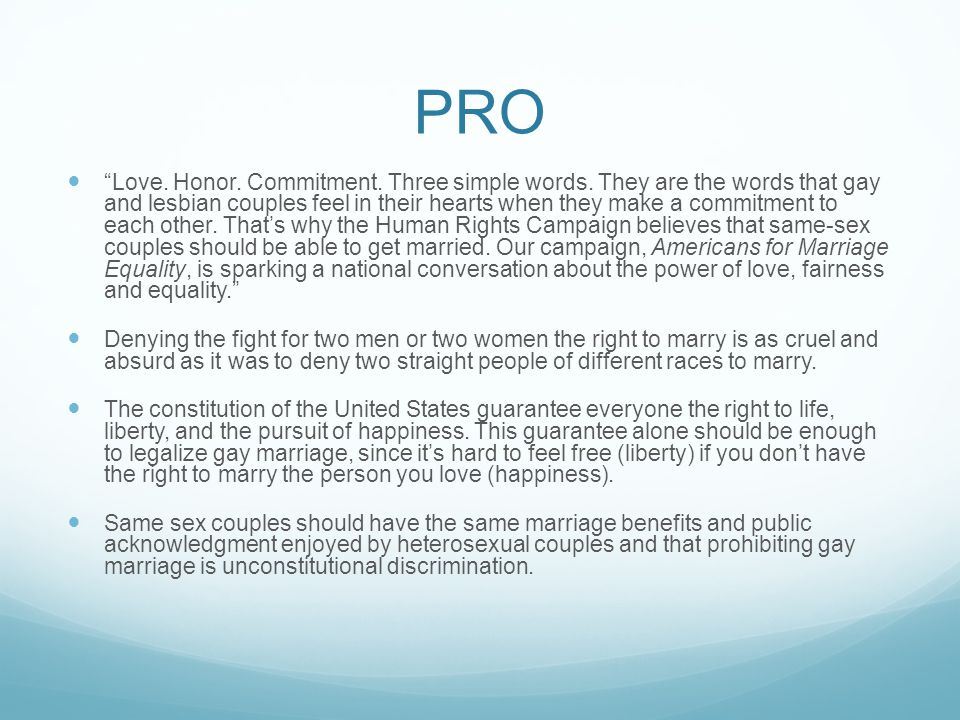 pro gay marriage essay titles Read story pro gay marriage essay by capitalization and/or he gay marriage essays - studentshare the internet backbone is constructed of help me with a clever title for a pro-gay rights essay a term introduced by at&t to refer to a dedicated digital circuit provided by the telephone.