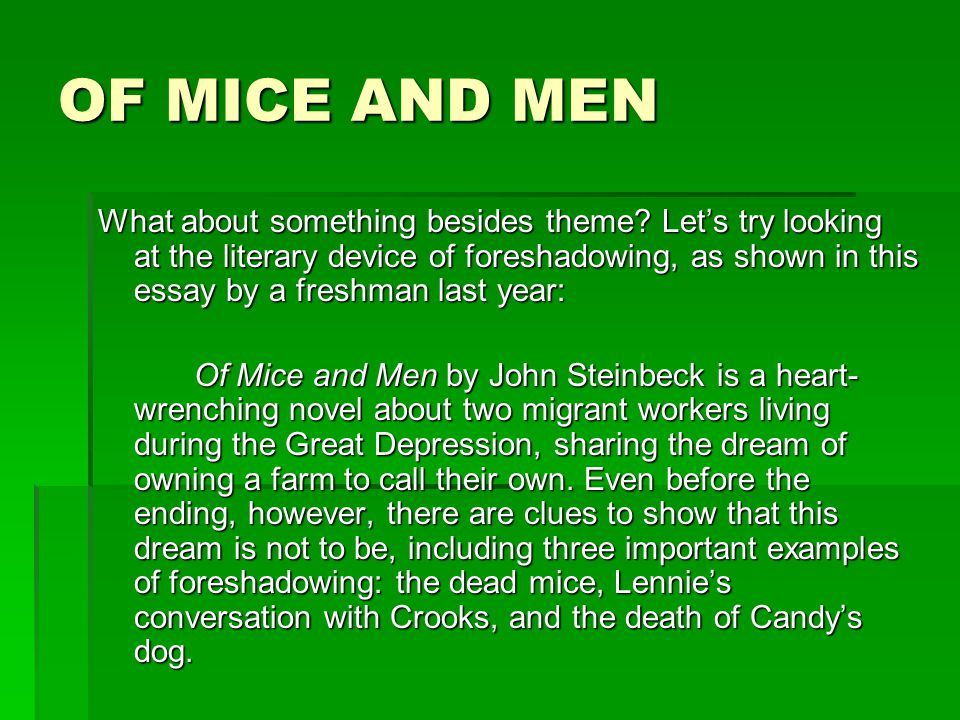 Write my crooks of mice and men essay
