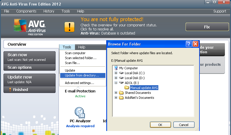 Virus Definition File Manual Update Avg