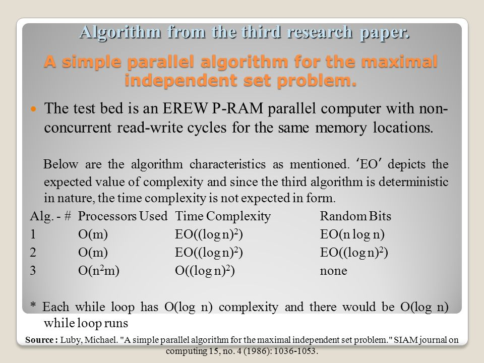 Research papers on computer algorithms