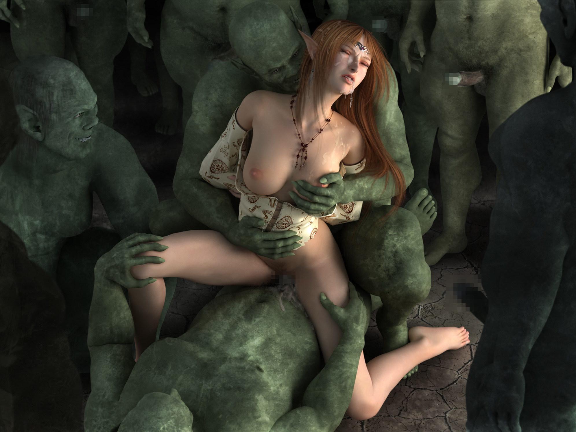 Секс эльфийки и монстра