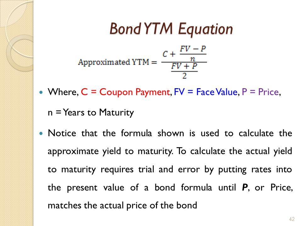 Bond yield to maturity formula
