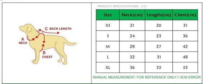 Таблица размеров одежды для собак на алиэкспресс