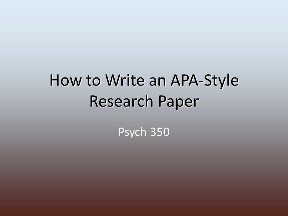 Parts of research paper apa style