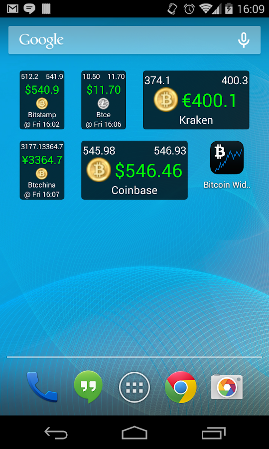 bitcoin price widget android