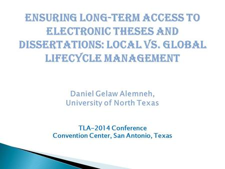 Electronic thesis and dissertation
