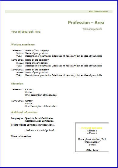 formats for cv exolgbabogadosco - Format A Cv