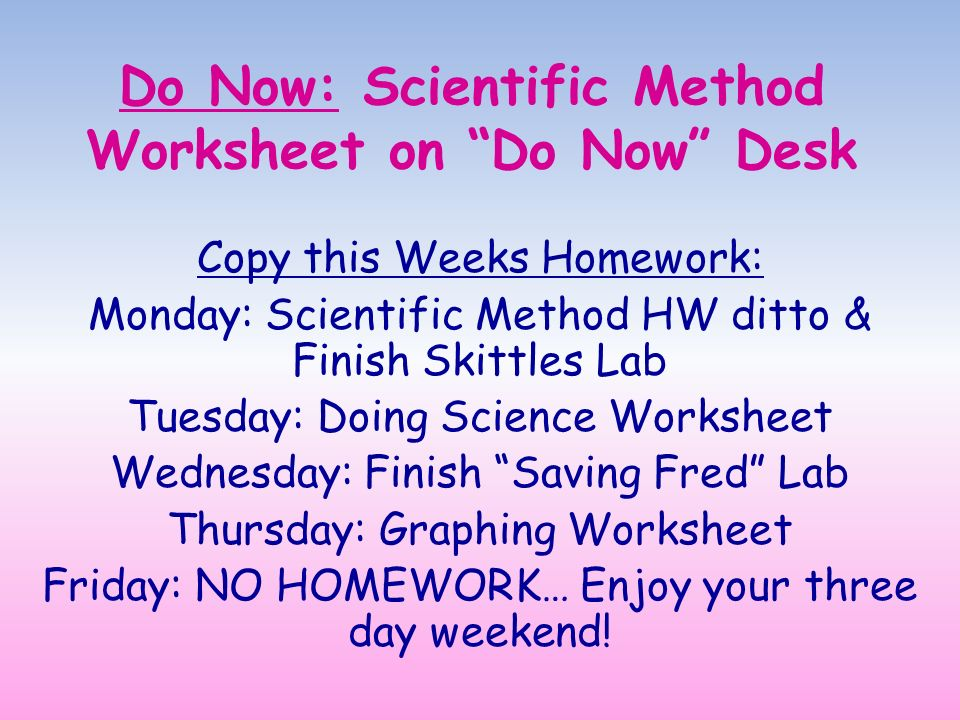 Scientific method homework