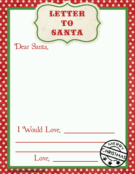 Write my dear santa writing paper