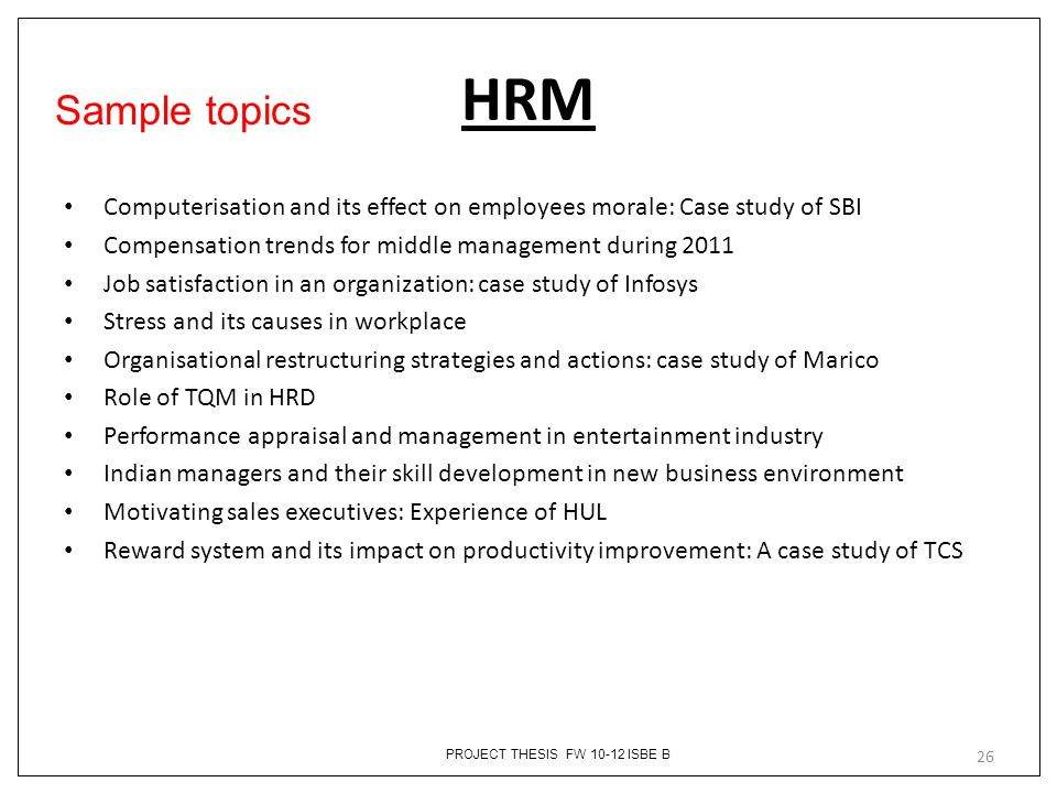 Sample research topics in human resource management