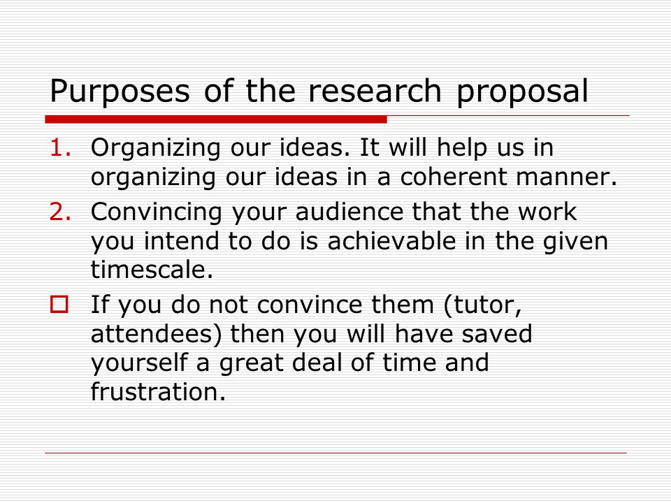 Guide to Producing a Research Proposal for Studies in