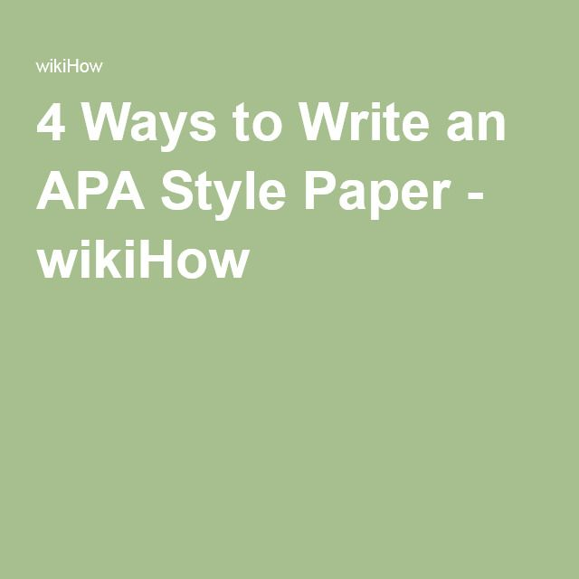 Write my apa style psychology research paper