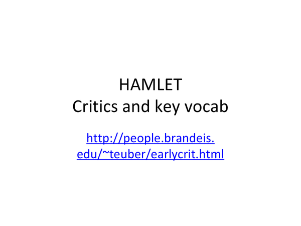 Write my critical essays on hamlet