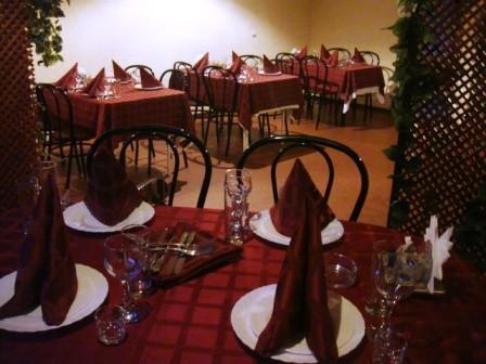 Ресторан Альбатрос - фотография 2 - Зал на 25 человек, вид от стола в беседке. Стол, установленный у противоположной стены вмещает 26 человек. Полная загрузка зала - 35 человек. Есть караоке.