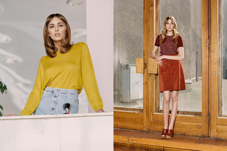 Слева: пуловер Finery London, 3320 р., юбка MM6, 24 350 р., очки Dior. Справа: топ и юбка Gucci, сабо Casadei, 30 499 р.