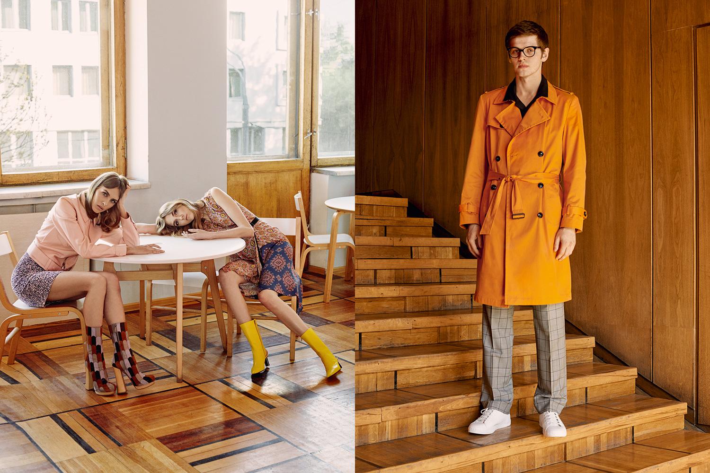 Слева: юбка Dior, сапоги Prada, куртка 3.1 Phillip Lim, платье Dries Van Noten, сапоги Vetements. Справа: плащ Zara, 8999 р., рубашка H&M, 1499 р., брюки KRISVANASSCHE, 23 200 р., кеды Zara, 2999 р., очки Dior