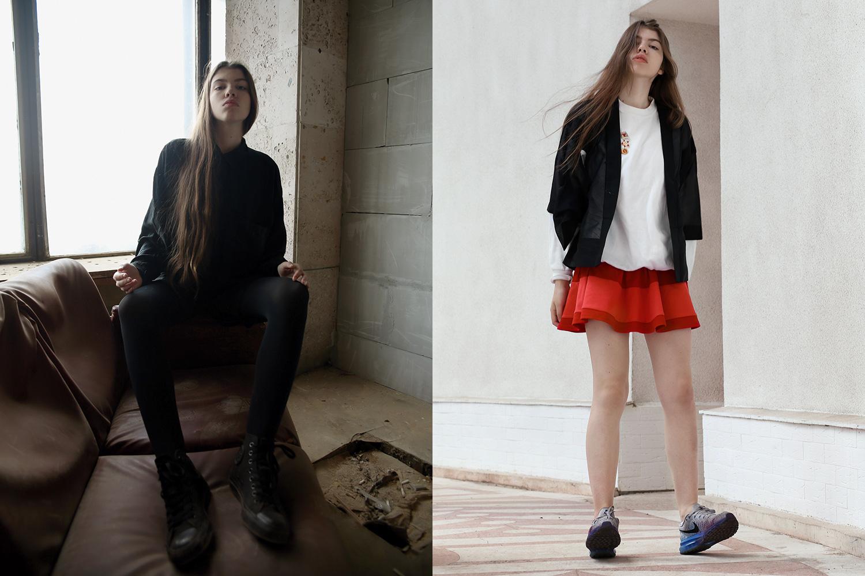 Слева: свитшот Asos, 2400 р., юбка и лосины Zara, 2900 р. и 1000 р. Справа:  платье American Apparel, 5900 р., свитшот Asos, 1100 р., кроссовки Nike, 6900 р., жакет River Island, 4800 р.