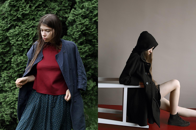 Слева: юбка и жакет Cheap Monday, 3400 р. и 5600 р., блузка Topshop, 3700 р. Справа: пальто Zara, 7999 р., кеды Converse, 4700 р., шорты H&M, 700 р.