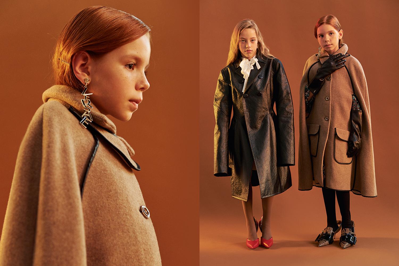 Слева: пальто Liu Jo, серьги Versace; в центре: пальто Dior, блузка Zara, клипсы Wales Bonner, колготки Сalzedonia, туфли Céline; справа: платье Zara, перчатки Hugo Boss, гольфы Calzedonia, обувь Miu Miu