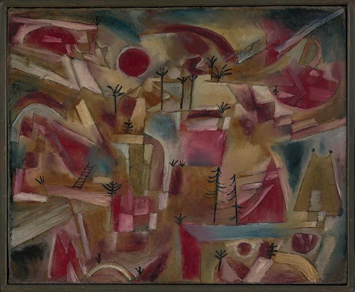Пауль Клее. Скалистый пейзаж (с пальмами и елями), 1919