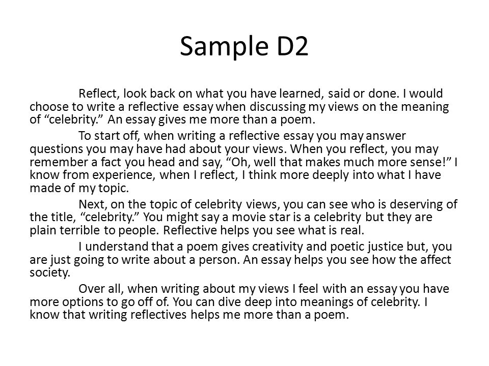 Reflective essays samples