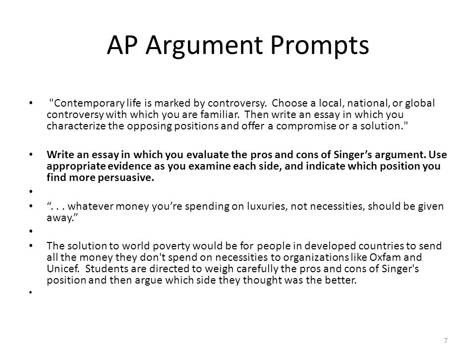 Prompts for an argumentative essay