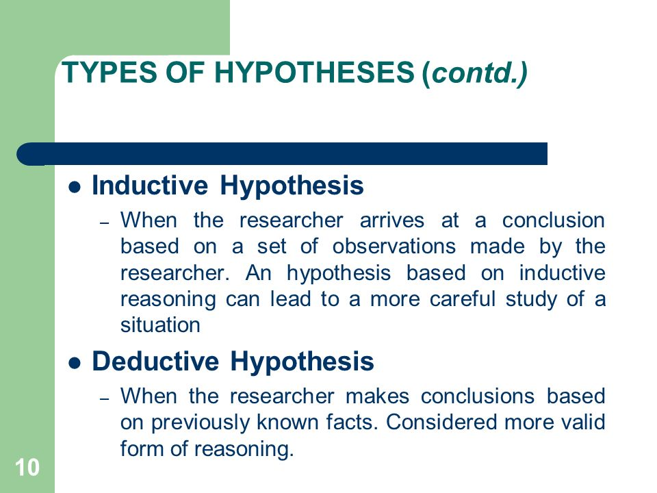 A list of hypothesis