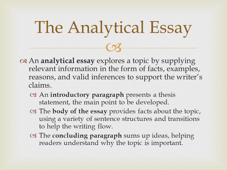 an analytical essay is also sometimes called We the keen essays staff, offer quality assistance to students by providing high quality term papers, essays, dissertations, research writing and thesis our top class services ensure that students are able to get good grades therefore improving their competitiveness in the job market.