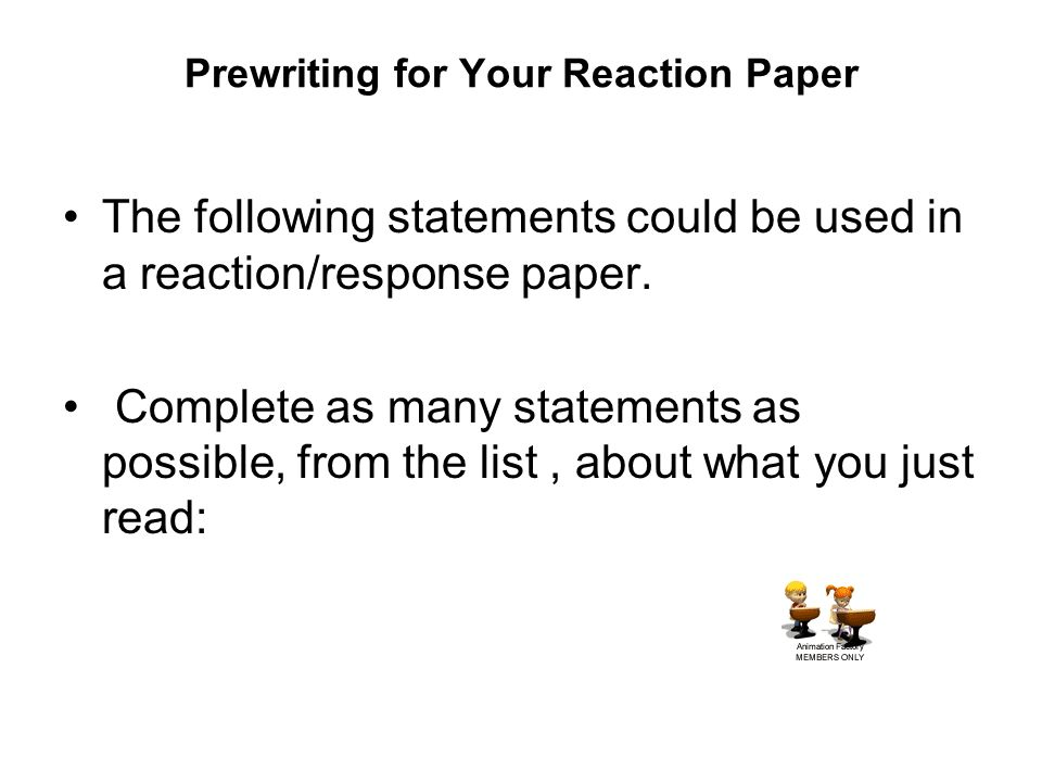 Write my reaction paper