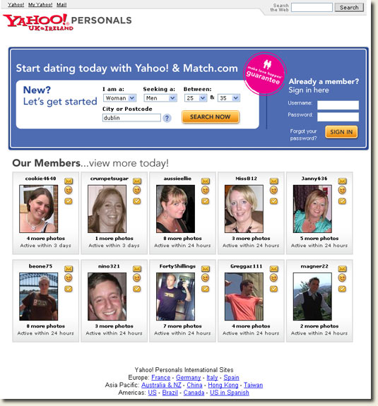 Free dating sites yahoo