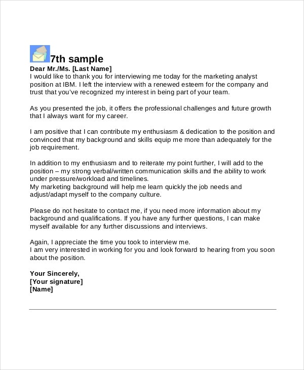 Thank You Letter After Interview Web Developer
