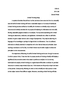 critical thinking essay example critical thinking exam for  critical thinking sample essay