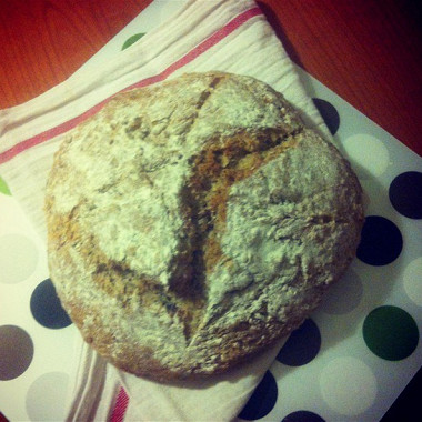 Рецепт Бездрожжевой хлеб накефире сгрецкими орехами