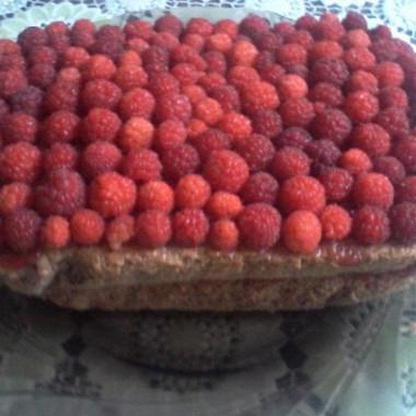 Рецепт Бисквитный пирог смалиной
