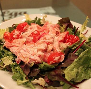 Рецепт Зеленый салат спечеными помидорами