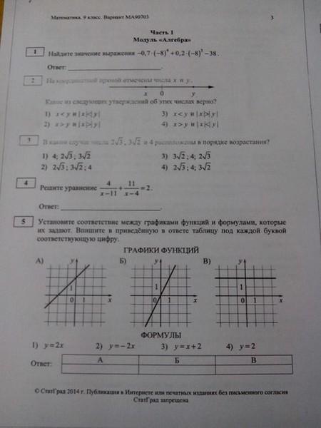 Ответы на статград по математике 2015 8 класс