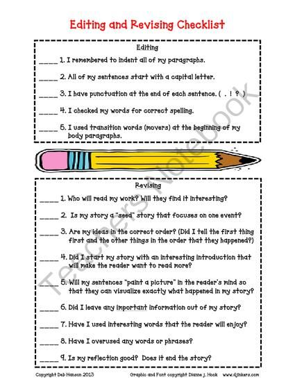 Write my essay editing checklist middle school